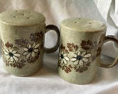 Vintage Otagiri Shakers Salt and Pepper Stoneware Large with Handles