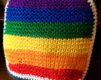 Crocheted Rainbow Pillow Vintage Small Square Throw Pillow