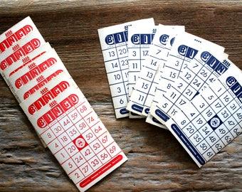 vintage cardboard bingo cards lot of 14--NOS, game pieces, vintage ephemera, old bingo cards