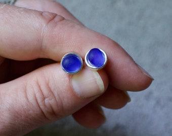 Sea Glass & Silver Petite Stud Earrings - Royal Blue