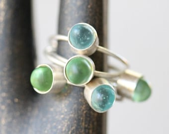 Petite Sea Glass & Sterling Silver Stacking Ring - Aqua sea glass, Green sea glass, handmade silver and sea glass ring, stacking ring