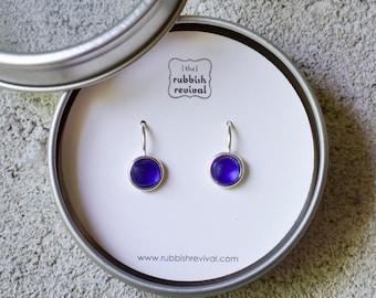 Sea Glass & Silver Petite Drop Earrings - Royal Blue
