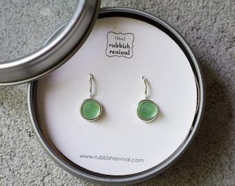 Sea Glass & Silver Petite Drop Earrings - Green