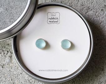 Sea Glass & Silver Petite Stud Earrings - Aqua
