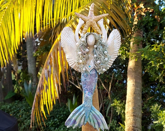 Strawberry Blonde Mermaid Tree Topper with Golden Sea Star