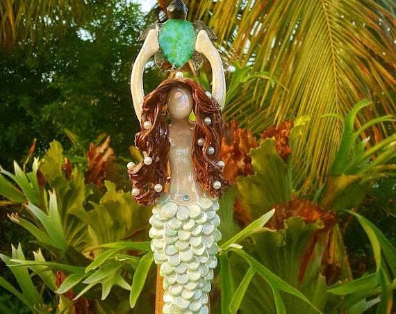 Brunette Mermaid Tree Topper with sea turtle