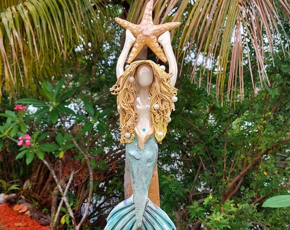 Golden Blonde Mermaid Tree Topper with Golden Sea Star