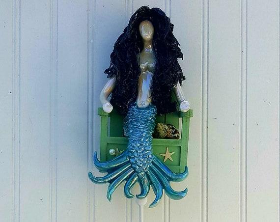 11 inch Black haired mermaid wall hook.