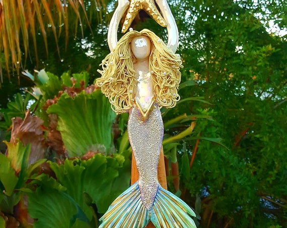 Blonde Mermaid Tree Topper with Golden Sea Star