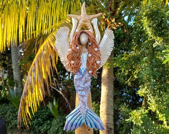 Red-headed Angel Mermaid Tree Topper with Golden Sea Star