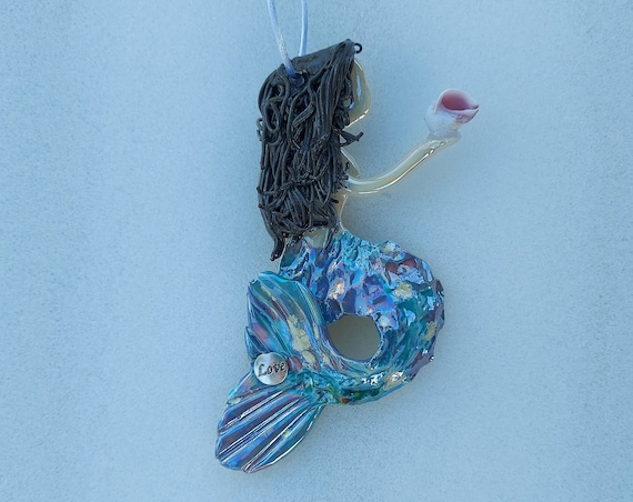 Inspiration Black haired  mermaid ornament