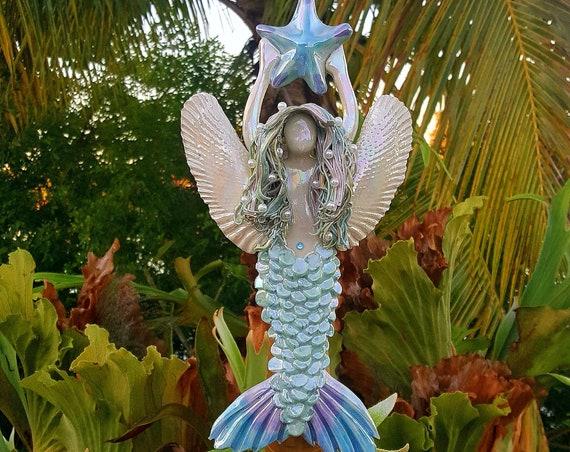 Rainbow Angel Mermaid Tree Topper