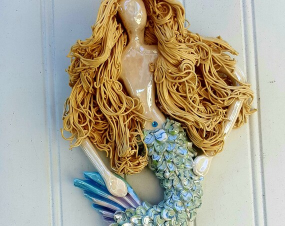 9 inch Blonde haired Mermaid wall Sculpture