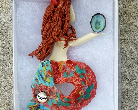 Inspiration Red haired mermaid ornament