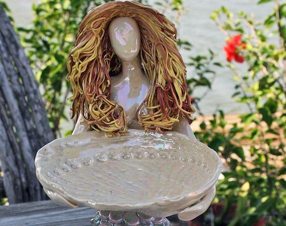 Mermaid on Lightening Whelk shell Soap Dish Ring Holder.