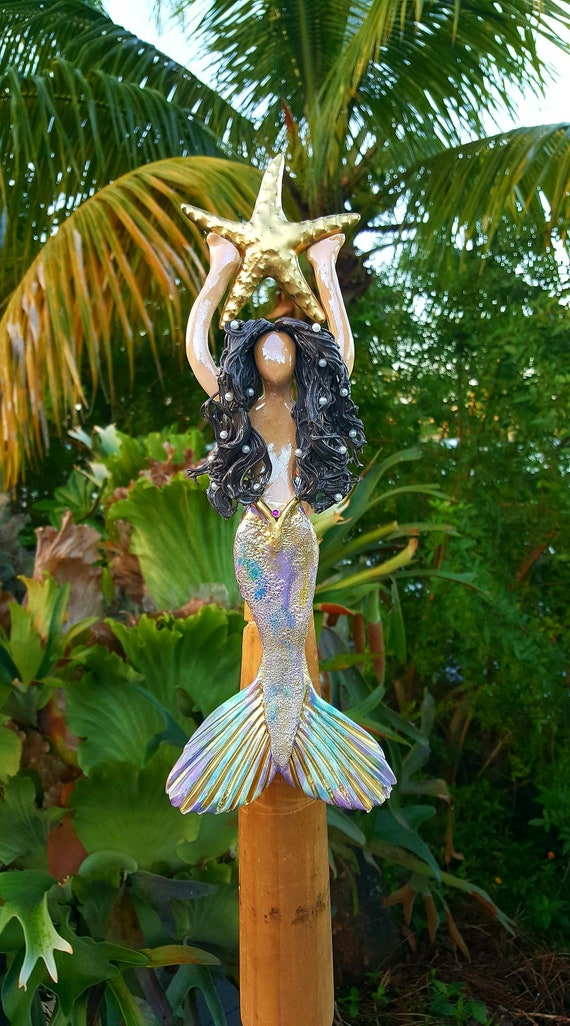 Black haired Mermaid Tree Topper with Golden Sea Star