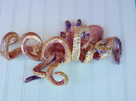 Hand Sculpted 15 inch Octopus Wall Hook