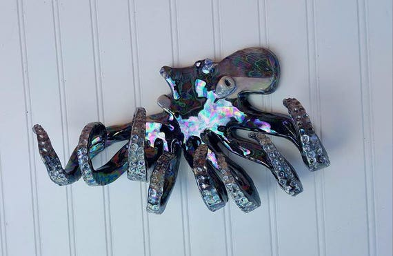 Hand Sculpted 13 inch Octopus Wall Hook