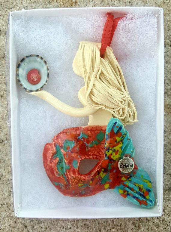 Inspiration White haired mermaid ornament
