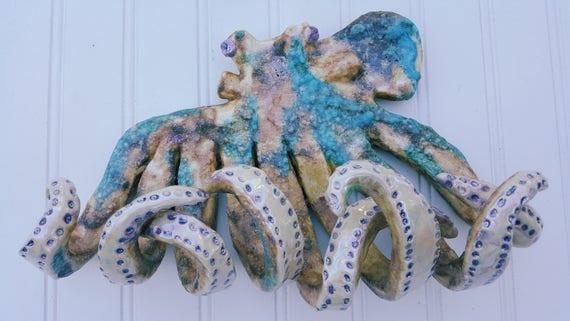 Hand Sculpted 12 inch Octopus Wall Hook