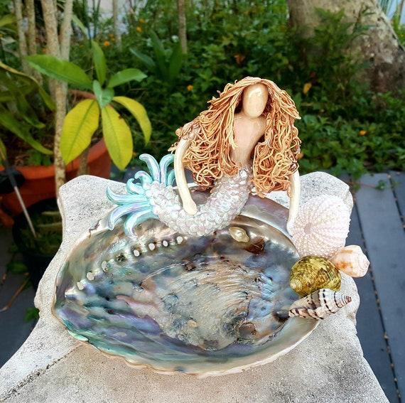 Mermaid on Abalone shell Soap Dish Ring Holder.