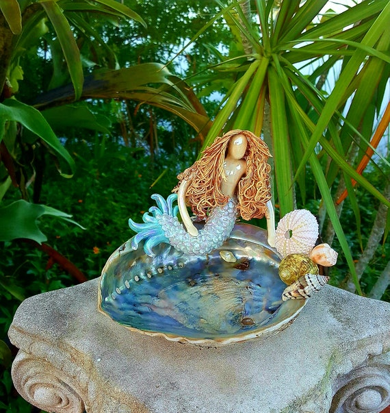 Hand Sculpted Mermaid soapdish on Abalone