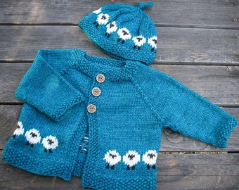 Hand Knitted Teal Blue Baby Cardigan with Sheep and Matching Hat for 6 - 12 Months Old Baby - Warm Winter Baby Jacket with Three Buttons