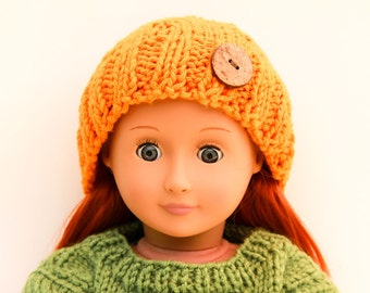Orange Doll Hat with Coconut Button, Hand Knitted Hat, Handmade Doll Clothes, Winter Accessory for 18 Inch Doll, Winter Fashion for Dolls