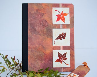 Autumn Leaves Journal with Matching Bookmark, Handmade Notebook in Fall Colors, Altered Composition Book with Lined Pages, Personal Diary