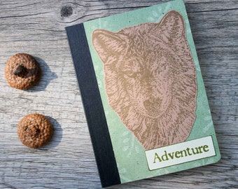 Wolf Mini Journal - Adventure Notebook - Green and Brown Pocket Journal - Altered Composition Book - Journaling on the Go - Travel Journal