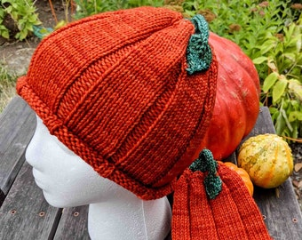 Pumpkin Hat in Five Sizes - Baby To Adult Sizes - Hand Knitted Beanie - Photo Prop