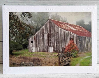 Old Weathered Barn Photo Greeting Card, Country Life, Fine Art Photography, Textured Photo, Country Decor, Farmhouse Decor