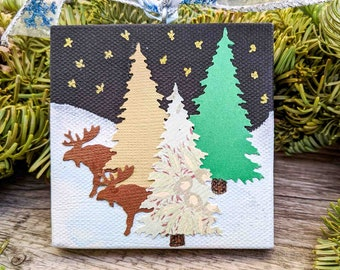 Christmas Ornament on Canvas with Moose and Trees in a  Winter Landscape - Starry Night Scene - Mixed Media Art - Holiday Decoration