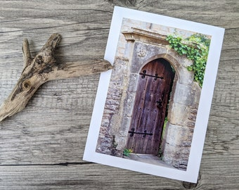 Medieval Door Photo Greeting Card, Old Door in Vicars' Close, Fine Art Photography, Card for Fans of Medieval England, Any Occasion Card