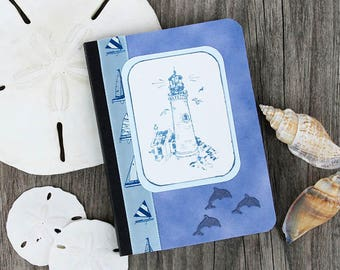 Lighthouse Mini Journal, Blue and White Pocket Notebook, Altered Composition Book, Morning Pages on the Go, Personal Diary, Memory Book