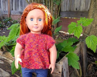 Orange and Red Sparkle Swing Top for 18 Inch Doll - Hand Knitted Sweater with Short Sleeves and Red Buttons - Fashion Doll Summer Pullover