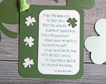 Irish Blessing Tags May the Road Rise to Meet You, Shamrock Tags for Irish Wedding, St. Patrick's Day, Handmade Green Tags with Irish Saying
