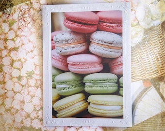 French Macaroons Photo Greeting Card, Food Photograph of Colorful Tiny Cakes, Paris Sweet Delight, Fine Art Photography, All Occasion Card