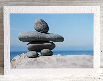 Inukshuk Photo Greeting Card, All Occasion Notecard, Fine Art Photography, Arctic Cairn, Stone Landmark, British Columbia, Any Occasion Card