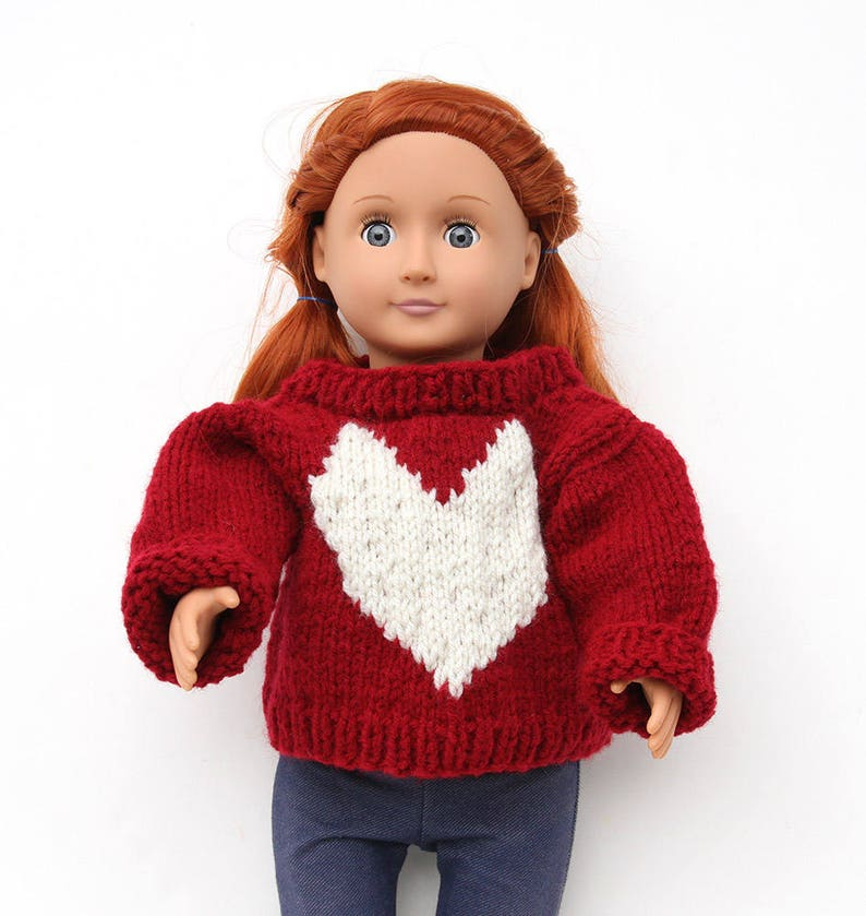 Red Hand Knit Sweater with White Heart for 18 Inch Fashion image 0