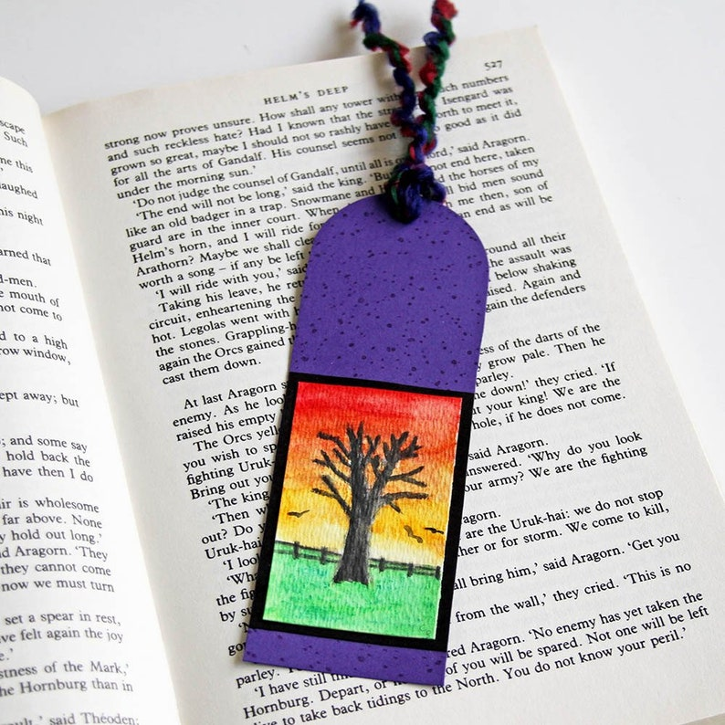 Hand Painted Bookmark with Bare Tree at Sunset  Original Mini image 0