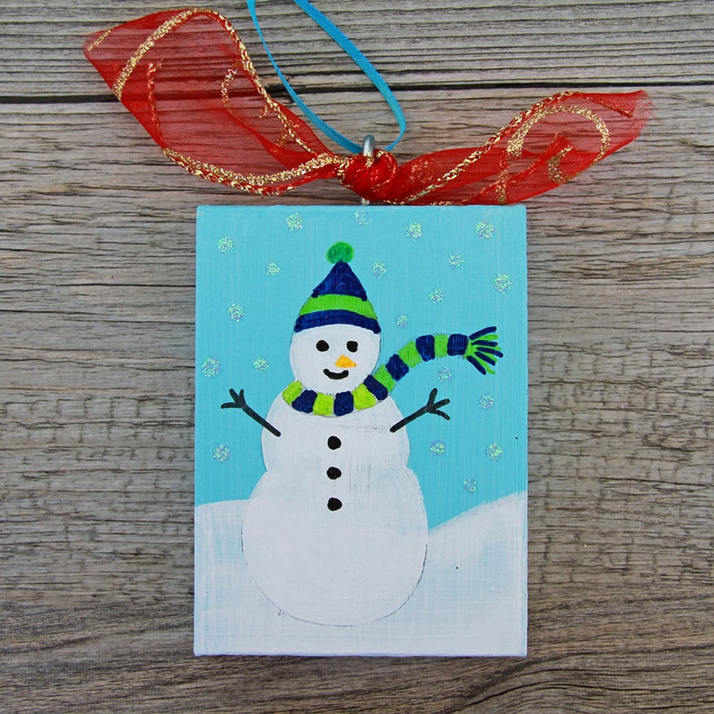 Blue Painted Snowman Ornament Holiday Wood Ornament with image 0