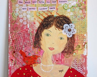 Mixed Media Portrait of a Woman - Acrylic Painting on Canvas Board - Original Artwork - Woman Painting - Home Decor - Wall Art