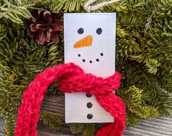 Wooden Snowman Ornament with Hand Knitted Red Scarf - Handpainted Christmas Tree Decoration - Rustic Holiday Ornament