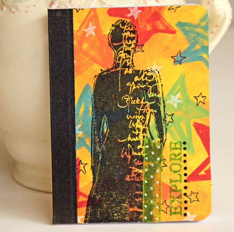 Woman Mini Journal in Bright Colors Handmade Pocket Notebook image 0