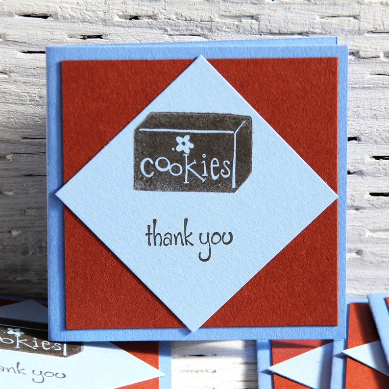 Girl Scout Cookie Sale Thank You Mini Cards in Brown and Blue image 0