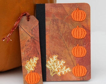 Pumpkin Mini Journal with Matching Bookmark, Handmade Pocket Notebook, Lined Journal with Pumpkins, Altered Composition Book in Fall Colors