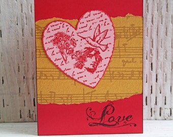 Love Greeting Card with Embellished Heart - Handmade Notecard for Wedding Anniversary Valentine's Day and Wedding - Red and Gold Love Note