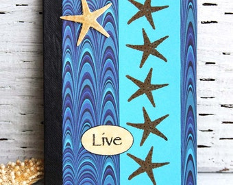 Blue Ocean Starfish Pocket Notebook Mini Journal, Altered Composition Book for Travel Journal or Vacation Planner, Handmade Personal Diary