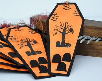 Spooky Halloween Cemetery Tags in Black and Orange with Tombstones and Owl Set of 10 Coffin Shaped Tags Party Favors Treat Bags Gift Tags